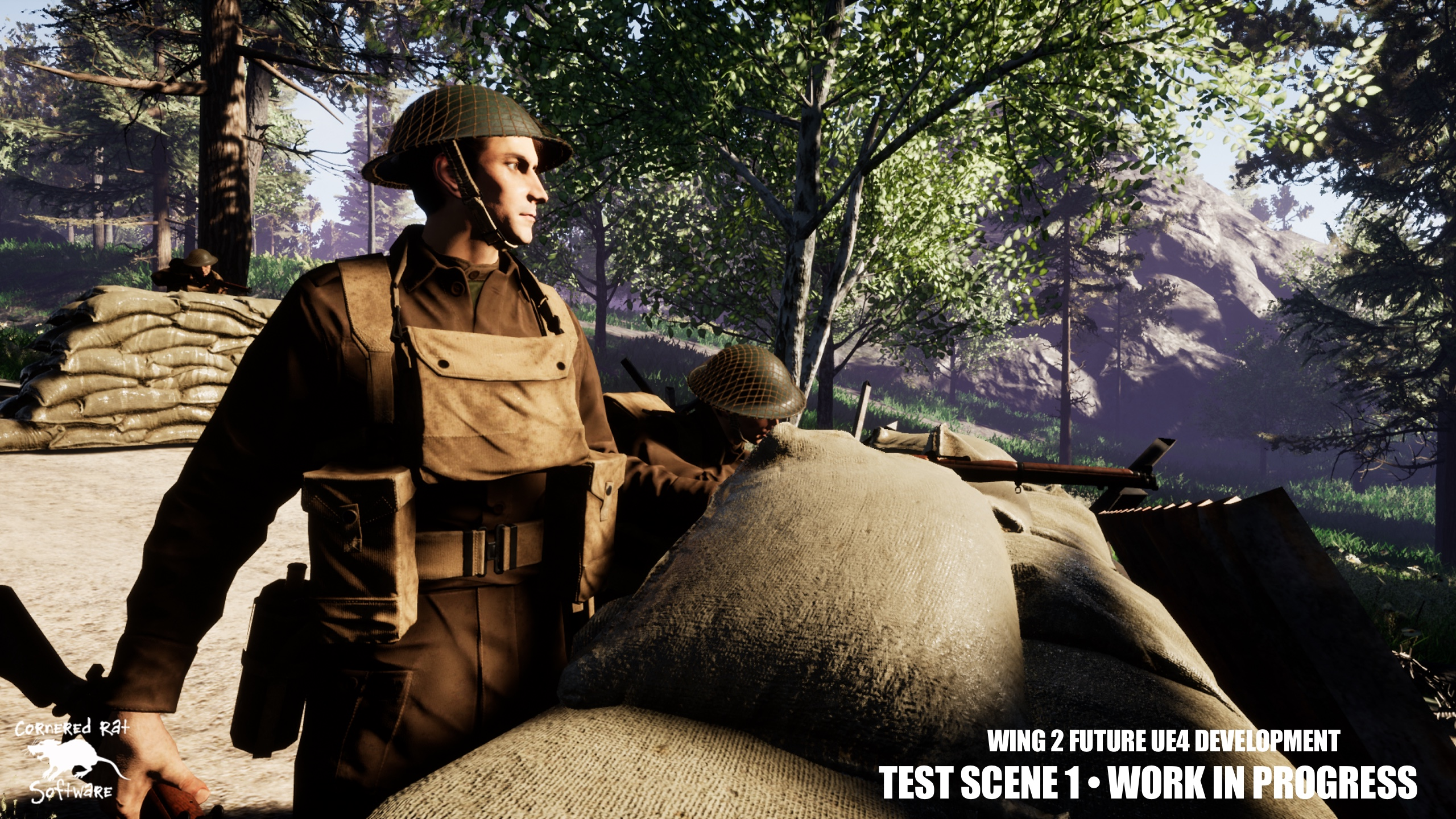 Our first test scene, a British defensive position alongside a road.