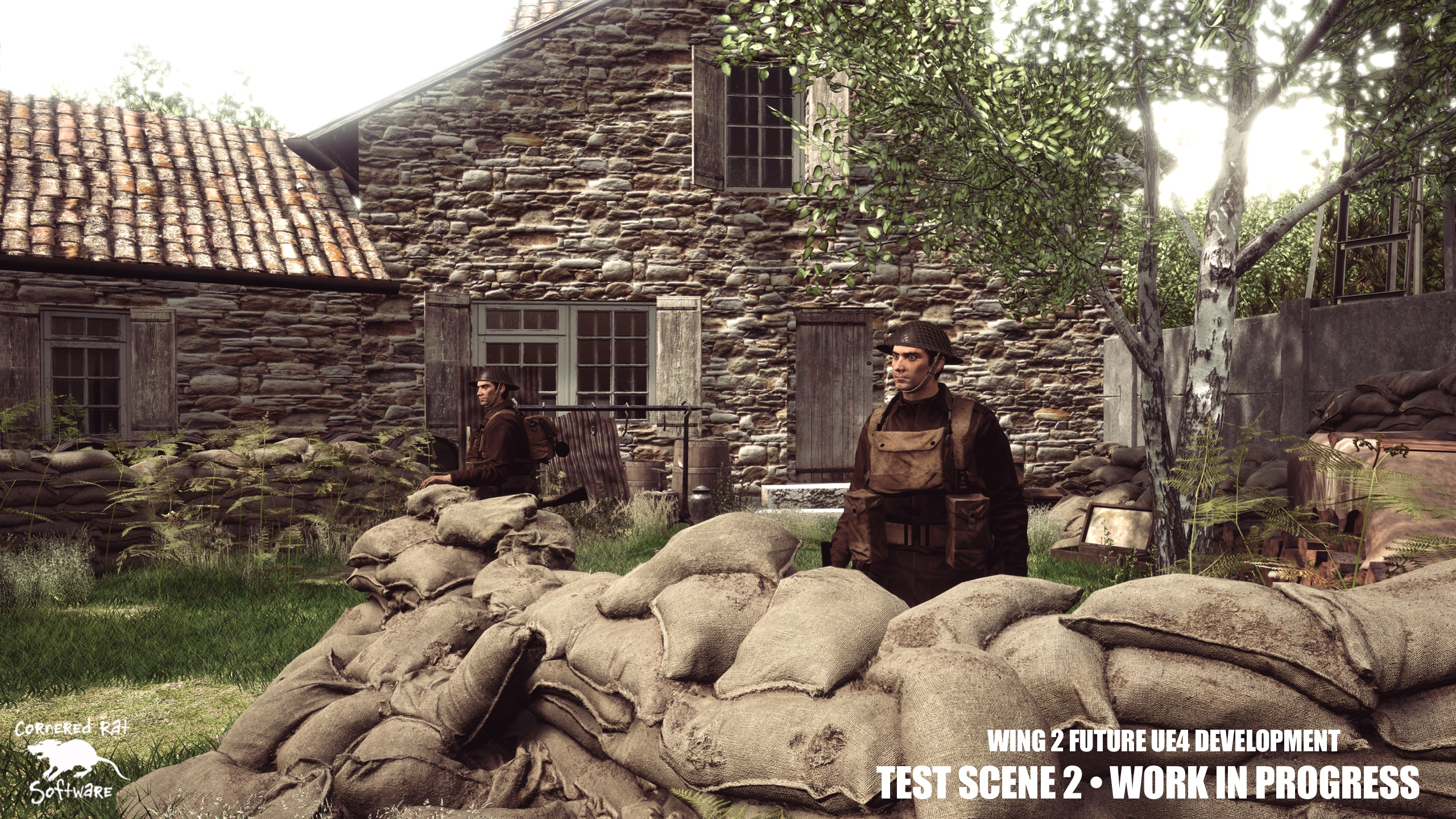 Our second test scene, a British command position with defensive guard.