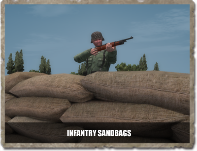 New sandbags deployed by standard rifleman and engineers